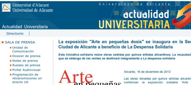 La Despensa Solidaria en la web de la UA