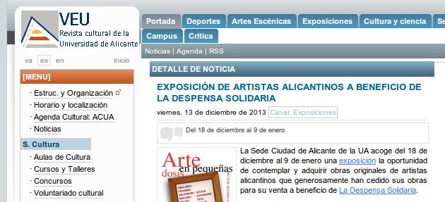 La Despensa Solidaria en la revista cultural de la UA