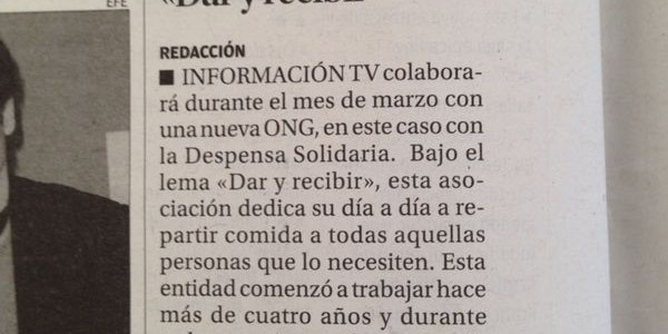 Despensa Solidaria en Diario Información 9-3-2014