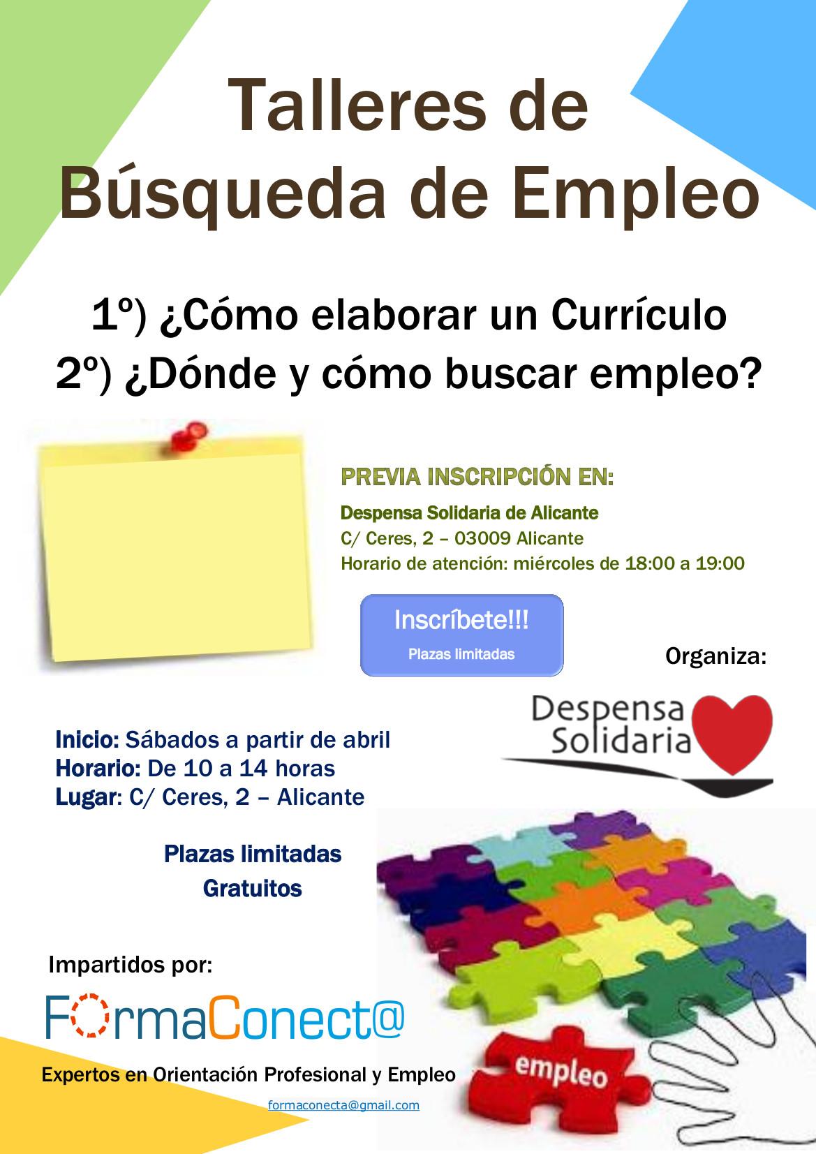 Talleres para la búsqueda de empleo - Despensa solidaria de Alicante