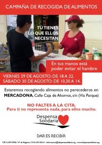 Campaña de recogida de alimentos en San Juan 29 y 30 de agosto