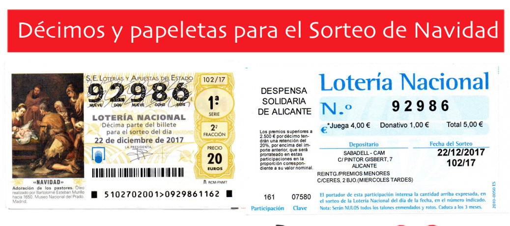 Lotería de Navidad a beneficio de Despensa Solidaria